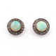 1 Pair Pave Diamond Genuine Ethiopian Opal Studs With Back Stoppers - 925 Sterling Silver - 11mm ED090