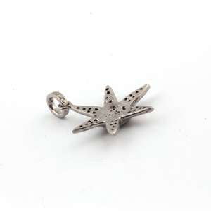 1 Pc Pave Diamond Star Charm Pendant - 925 Sterling Silver - Star Pendant 26mmx22mm  Pd300