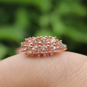 1 Pc Morganite Diamond Ring, Rose Gold Finish 925 Sterling Silver Ring, Pink Morganite Vinatge Ring, Antique Jewelry,  RD344