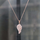 Morganite Feather Necklace, High Quality Diamond, Solitaire Necklace, Rose Gold Vermeil, Elegant Petite Delicate Dainty Necklace PD1395