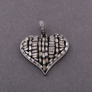 1 Pc Genuine Pave Diamond With Baguette Diamond Heart Pendant - 925 Sterling Silver - Heart Pendant 27mmx28mm PD630