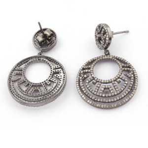 1 Pair Pave Diamond Round Earring - Diamond Stud Earrings - 925 Sterling Silver 28mmx26mm-14mmx12mm ED149