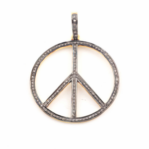 1 Pc Pave Diamond Round Peace Pendant - 925 Sterling Silver -Vermeil - 39mmx34mm Pd269