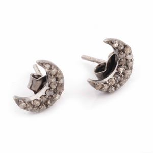 1 Pair Antique Finish Pave Diamond Crescent Moon Designer Stud Earrings With Back Stoppers - 925 Sterling Silver 9mmx4mm ED044