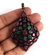 14g 1 Pc Pave Diamond Genuine Ruby & Emerald Pendant - 925 Sterling Silver - Gemstone Necklace Pendant 57mmx39mm PD1277
