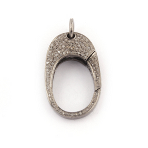 1 PC Pave Diamond Lobster Clasp Antique Finish over Sterling Silver - Diamond On Both Sides 28mmx16mm LB208