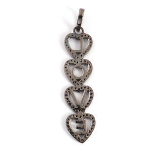 1 Pc Antique Finish Pave Diamond Designer Heart Pendant - 925 Sterling Silver- Love Necklace Pendant 54mmx13mm PD1266