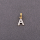 14K Solid Yellow Gold and White Diamond Initial Charm Pendant - Letter A, P Pendant - 11mm PD180