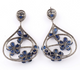 1 Pair Pave Diamond With Kyanite Earring - Diamond Dangle Flower Earrings - 925 Sterling Silver 49x41mm-17x12mm ED301