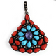 1 Pc Pave Diamond Genuine Coral & Turquoise Center In Tanzanite Pendant -925 Sterling Silver - Gemstone Necklace Pendant 46mmx38mm PD1295