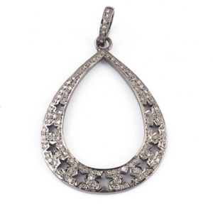1 Pc Pave Diamond Pear Shape Designer Pendant -925 Sterling Silver -Necklace Pendant 43mmx32mm PD1450