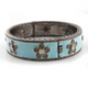 1 Pc Pave Diamond Turquoise Bakelite Bangle - Enamel With Rosecut Flower 925 Sterling Silver Bangle with Lock- Size:2.25 BD186