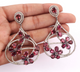 1 Pair Pave Diamond With Pink Tourmaline Earring - Diamond Dangle Flower Earrings - 925 Sterling Silver 48x41mm-17x12mm ED303