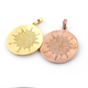 1 Pc Antique Pave Diamond Sun Burst Pendant - 925 Sterling Silver, Yellow Gold & Rose Gold Vermeil 32mmx29mm PD546