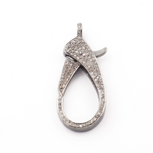 1 Pc Pave Diamond XL Lobster Clasp Oxidized Sterling Silver - With Diamond On Both Sides 40mmx16mm LB050