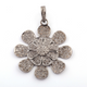 1 Pc Pave Diamond Flower Pendant Over 925 Sterling Silver-Necklace Pendant 40mmx36mm PD087