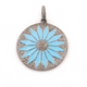 1 Pc Pave Diamond Bakelite Flower Pendant - 925 Sterling Silver & Vermeil -Enamel Pendant 38mmx34mm PD727