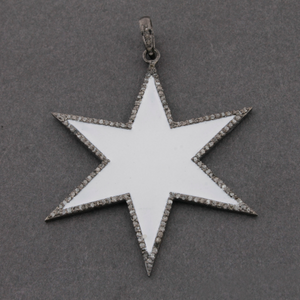 1 Pc Pave Diamond Cream & White Enamel-Bakelite Star Charm Pendant Over 925 Sterling Silver 54mmx50mm PD293