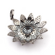 1 Pc Pave Diamond Beautiful Flower Pendant - 925 Sterling Silver - Flower Charm Pendant 41mmX37mm PD828