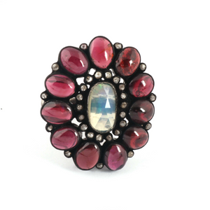 12gm 1 PC Beautiful Pave Diamond Pink Tourmaline Ring Center In Opal - 925 Sterling Silver - Gemstone Ring Size -7.75 RD342