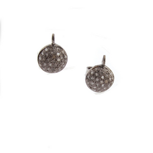 1 Pair Pave Diamond Round Stud Earrings With Back Stoppers - 925 Sterling Silver Round Stud Tops 12mmx09mm ED083