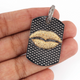 1 PC Pave Diamond Lip Dog Tag Pendant Over Rose Gold Vermeil,925 Sterling Silver & Vermeil - Rectangle Pendant 35mmx24mm PD1416