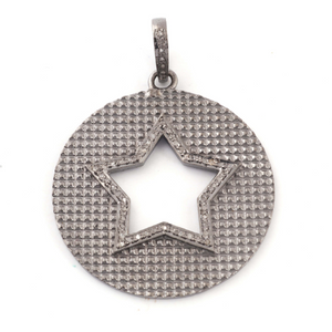 1 Pc Pave Diamond Round Center In Star Pendant Over 925 Sterling Silver -Round Star Pendant 39mmx35mm PD1556