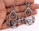 1 Pair Pave Diamond With Multi Tourmaline Earring - Diamond Dangle Pear Shape Earrings - 925 Sterling Silver 45x31mm-13x9mm ED300