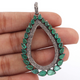 1 Pc Pave Diamond With Emerald Pear Drop Pendant - 925 Sterling Silver - Necklace Pendant PD1602