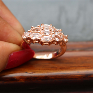 1 Pc Morganite Ring, Rose Gold Finish 925 Sterling Silver Ring, Pink Morganite Vintage Ring, Antique Jewelry, RD388