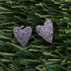 1 Pair Antique finish Pave Diamond Heart Designer Stud Earrings With Back Stoppers - 925 Sterling Silver 13mmx10mm ED012