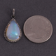 1 Pc Pave Diamond Ethiopian Opal Pendant - 925 Sterling Silver - Diamond Pear Pendant 24mmx15mm PD1281