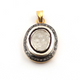 1 PC Pave Diamond Oval With Rose Cut Diamond Pendant - 925 Sterling Vermeil - Polki Pendant 28mmx19mm PD1114