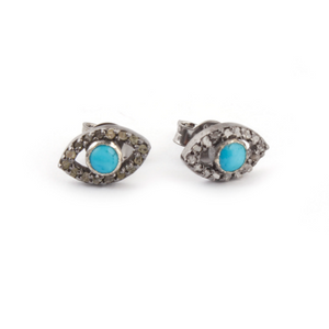 1 Pair Pave Diamond With Turquoise Evil Eye Stud Earrings With Back Stoppers - 925 Sterling Silver 10mmx6mm ED103