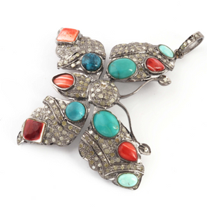 1 Pc Pave Diamond Natural Spiny Oyster Shell With Turquoise Butterfly Pendant Over 925 Sterling Silver-Necklace Pendant 40mmx51mm PD1581