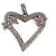 1 Pc Antique Finish Pave Diamond Designer Heart Pendant - 925 Sterling Silver- Love Necklace Pendant 35mmx38mm PD1309