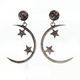 1 Pair Pave Diamond Crescent Moon WIth Star Charm Earrings - 925 Sterling Silver - Moon Earrings 31mmx9mm-10mmx8mm ED395