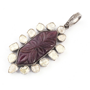 1 Pc Rose Cut Diamond With Carved Ruby Pendant Over 925 Sterling Silver - Polki Pendant 42mmx22mm PD1587
