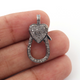 1 PC Pave Diamond Lobster Clasp Antique Finish over Sterling Silver - Diamond On Both Side 25mmx11mm LB060