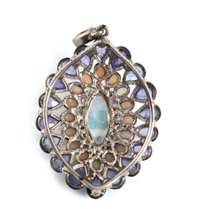 15g 1 Pc Pave Diamond Genuine Tanzanite & Opal Center In Moonstone Pendant - 925 Sterling Silver - Gemstone Necklace Pendant 46mmx33mm PD1298