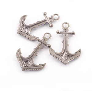 1 Pc Pave Diamond Anchor Pendant - 925 Sterling Silver & Vermeil - Necklace Pendant 31mmx20mm PD264