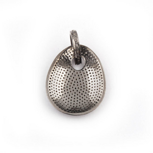1 Pc Pave Diamond Fancy Oval Pendant 925 Sterling Silver & Vermeil- Dog Tag Pendant 29mmx23mm PD274
