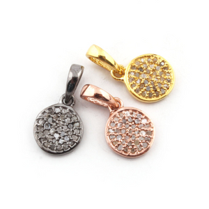 1 Pc Pave Diamond Round Disc 925 Sterling Silver,Vermeil & Rose Gold Round Shape Pendant- 12mmx9mm PD956