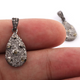 1 Pc Antique Finish Pave Diamond Drop Shape With Double Cut Diamond Pendant - 925 Sterling Silver - Necklace Pendant -Jewelry Making 19mmx10mm PD096