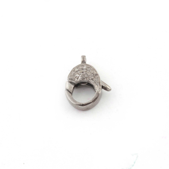 Diamond Oxidised Sterling Silver Lobster Clasp