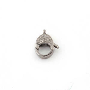 1 Pc Pave Diamond Small Lobster Clasp Antique Finish Over Oxidized Sterling Silver - With Diamonds On Both Sides 15mmx9mm LB088
