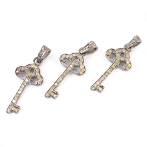 1 Pc Pave Diamond Key Charm Pendant -925 Sterling Silver - Key Pendant 25mmx12mm PD1421