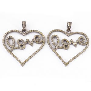 1 Pc Antique Finish Pave Diamond Heart Pendant - 925 Sterling Silver- Love Necklace Pendant 31mmx33mm PD1417