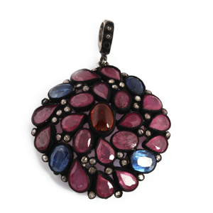 1 Pc Pave Diamond Genuine Ruby & Kyanite Center In Mozambique Garnet Pendant-925 Sterling Silver-Gemstone Necklace Pendant 43x38mm PD1304