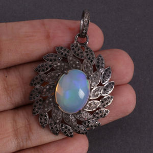 1 Pc Pave Diamond & Black Spinel Center In Ethiopian Opal Pendant - 925 Sterling Silver - Diamond Necklace Pendant 39mmx31mm PD1290